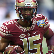 Florida State Seminoles wide receiver Travis Rudolph (15) is seen during warmups prior to an NCAA football game between the Ole Miss Rebels and the Florida State Seminoles at Camping World Stadium on September 5, 2016 in Orlando, Florida. (Alex Menendez via AP)