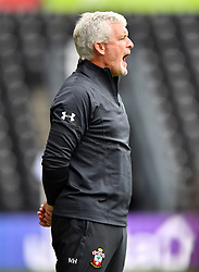 """Southampton manager Mark Hughes during a pre season friendly match at Pride Park, Derby. PRESS ASSOCIATION Photo. Picture date: Saturday July 21, 2018. Photo credit should read: Anthony Devlin/PA Wire. EDITORIAL USE ONLY No use with unauthorised audio, video, data, fixture lists, club/league logos or """"live"""" services. Online in-match use limited to 75 images, no video emulation. No use in betting, games or single club/league/player publications."""