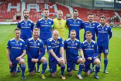WREXHAM, WALES - Monday, May 2, 2016: Airbus UK Broughton players line up for a team group photograph before the129th Welsh Cup Final against The New Saints at the Racecourse Ground. Back row L-R: Mike Pearson, captain Ian Kearney, goalkeeper James Coates, Chris Budrys, Matty McGinn, Lee Owens. Front row L-R: Ashley Williams, James Owen, Tony Gray, Ryan Wignall, James Murphy. (Pic by David Rawcliffe/Propaganda)