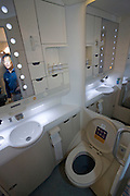Airbus A380 first commercial flight - Singapore Airlines SQ 380 Singapore-Sydney on October 25, 2007. Economy Class toilet.