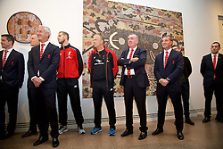 ADELAIDE, AUSTRALIA - Sunday, July 19, 2015: Liverpool delegation Ian Rush, captain Jordan Henderson, assistant manager Sean O'Driscoll, Managing Director Ian Ayre and manager Brendan Rodgers during a visit to the Art Gallery of South Australia ahead of a preseason friendly match against Adelaide United on day seven of the club's preseason tour. (Pic by David Rawcliffe/Propaganda)