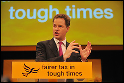 Deputy Prime Minister Nick Clegg delivers his keynote speech at the end of the Liberal Democrats Conference in Brighton, Wednesday September 26, 2012 Photo Andrew Parsons / i-Images..
