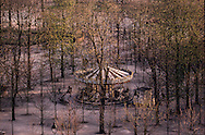 France. Paris. elevated view. merry go round in  tuleries garden   view from  the hotel Meurice