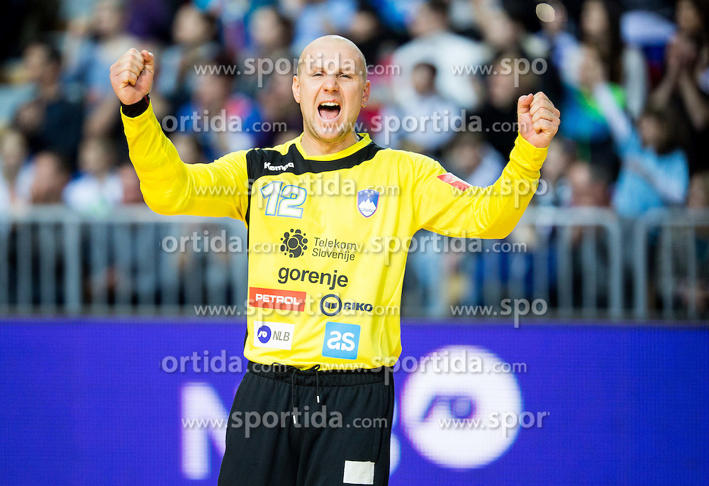 Gorazd Skof of Slovenia reacts during friendly handball match between National teams of Slovenia and Croatia as preparation game for European Championship in Poland, on January 9, 2016 in Arena Bonifika, Koper, Slovenia. Photo by Vid Ponikvar / Sportida