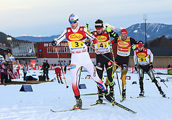 20.12.2014, Nordische Arena, Ramsau, AUT, FIS Nordische Kombination Weltcup, Staffel Langlauf, im Bild Jan Schmid (NOR), Francois Braud (FRA), Johannes Rydzek (GER)// during Cross Country of FIS Nordic Combined World Cup, at the Nordic Arena in Ramsau, Austria on 2014/12/20. EXPA Pictures © 2014, EXPA/ Martin Huber