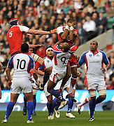 Twickenham, GREAT BRITAIN, Delon ARMITAGE, collects the high ball, during the Investic Challenge, England vs Pacific Islanders, at Twickenham Stadium, Surrey on Sat 08.11.2008 [Photo, Peter Spurrier/Intersport-images]