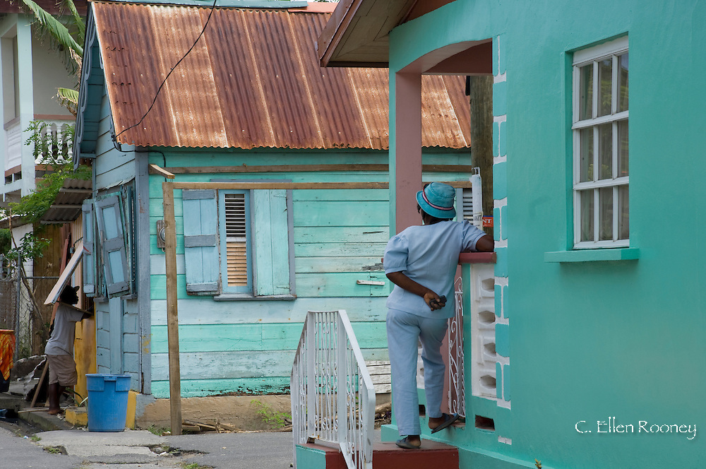 Typical colourful West Indian architecture in the town of Gros Islet, St Lucia, The Windward Islands, The Caribbean