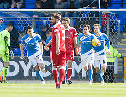 St Johnstone's Danny Swanson cowl scoring their penalty goal. St Johnstone 1 v 2 Aberdeen. SPFL Ladbrokes Premiership game played 15/4/2017 at St Johnstone's home ground, McDiarmid Park.