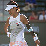 March 9, 2015, Indian Wells, California:<br /> Kimiko Date-Krumm reacts after an injury during a qualifying match against Lauren Embree at the Indian Wells Tennis Garden in Indian Wells, California Monday, March 9, 2015.<br /> (Photo by Billie Weiss/BNP Paribas Open)