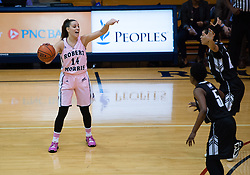 February 22 2016: Robert Morris Colonials guard Ashley Ravelli (14) directs traffic during the second half in the NCAA Women's Basketball game between the Long Island Blackbirds and the Robert Morris Colonials at the Charles L. Sewall Center in Moon Township, Pennsylvania (Photo by Justin Berl)