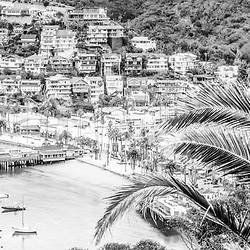 Catalina Island Avalon Bay black and white panoramic photo. Catalina Island is a popular destination off the coast of Southern California in the United States. Panoramic photo ratio is 1:3.