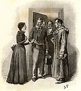 The Adventure of Silver Blaze'. Mrs Straker, widow of the murdered trainer, asking Sherlock Holmes, right, and Inspector Gregory, with beard, if they have found her husband's killer.  From 'The Adventures of Sherlock Holmes' by Conan Doyle from 'The Strand Magazine' (London, 1892). Illustration by Sidney E Paget, the first artist to draw Sherlock Holmes.  Engraving.