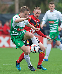 NEWTOWN, WALES - Saturday, May 2, 2015: The New Saints' Chris Marriott in action against Newtown's Craig Williams during the FAW Welsh Cup final match at Latham Park. (Pic by Ian Cook/Propaganda)
