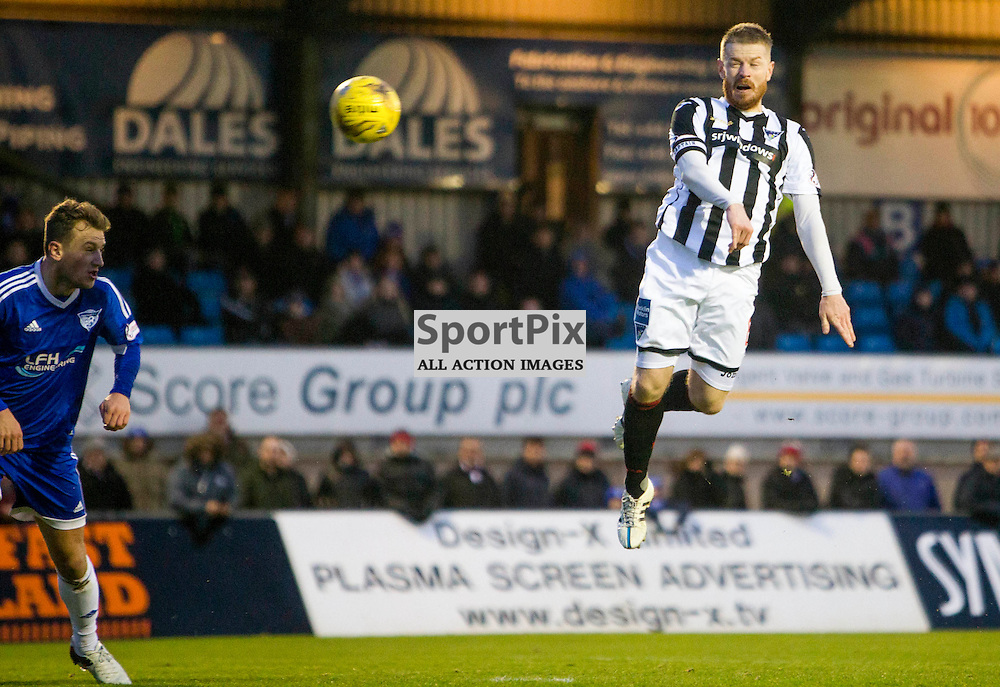 Peterhead v Dunfermline Athletic SPFL League One Season 2015/16 Balmoor Stadium 23 January 2016<br /> Andy Geggan header <br /> CRAIG BROWN | sportPix.org.uk