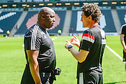 Nottingham Forest manager Paul Williams chats to Dons  coach Keith Andrews during the Sky Bet Championship match between Milton Keynes Dons and Nottingham Forest at stadium:mk, Milton Keynes, England on 7 May 2016. Photo by Dennis Goodwin.