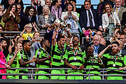 Forest Green Rovers lift the ply off final trophy and celebrate promotion in to the football league Forest Green Rovers Christian Doidge(9) during the Vanarama National League Play Off Final match between Tranmere Rovers and Forest Green Rovers at Wembley Stadium, London, England on 14 May 2017. Photo by Adam Rivers.
