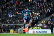 Wycombe Wanderers midfielder Nick Freeman (22) heads the ball during the EFL Sky Bet League 1 match between Milton Keynes Dons and Wycombe Wanderers at stadium:mk, Milton Keynes, England on 1 February 2020.