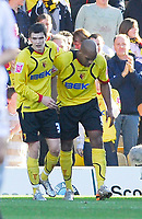 Photo: Leigh Quinnell.<br /> Watford v Hull City. Coca Cola Championship. 20/10/2007. Watfords Jordan Stewart(L) congratulates Marlon King on his goal.
