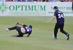 Benny Howell of Gloucestershire catches out Sam Billings of Kent - Photo mandatory by-line: Dougie Allward/JMP - Mobile: 07966 386802 - 12/07/2015 - SPORT - Cricket - Cheltenham - Cheltenham College - Natwest Blast T20