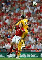 Photo: Steve Bond/Richard Lane Photography. <br />Ebbsfleet United v Torquay United. The FA Carlsberg Trophy Final. 10/05/2008. Tim Sills (R) gets above Paul McCarthy (lower L)