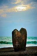 One of the massive prehistoric standing stones of Menhirs de Beg er Goalennec a.k.a. Bonnet d'Eveque. Quiberon, Brittany, France