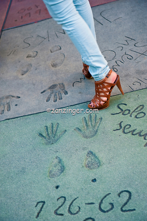 Grauman's, Chinese, Theatre,  Womans Shoes, Walking,  Movie Stars, Hand - Footprint, Impressions, Hollywood,  CA