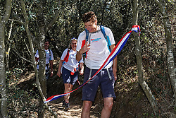04-09-2019 ESP: WeHike2ChangeDiabetes - Senda de Bas day 4, Ponferrada<br /> A special day at the WeHike2ChangeDiabetes. The Senda de Bas path will be inaugurated today, coinciding with the athlete's birthday, by the statue and nice rock gravity that gets the path. Bas on his path take the finger scissors and hereby opens the Senda De Bas. In the background Petra Seegers, Director of the Bas van de Goor Foundation and Alberto Díez, Head of the Endocrinology and Nutrition Unit of the GASBI<br />