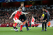 Arsenal midfielder Aaron Ramsey (8) trying to turn in the box during the Champions League round of 16, game 2 match between Arsenal and Bayern Munich at the Emirates Stadium, London, England on 7 March 2017. Photo by Matthew Redman.