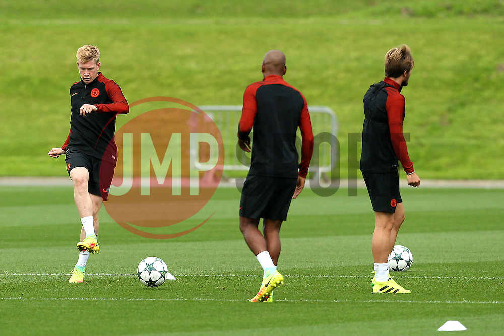 Kevin De Bruyne of Manchester City trains with Fernandho - Mandatory by-line: Matt McNulty/JMP - 12/09/2016 - FOOTBALL - Manchester City - Training session ahead of Champions League Group C match against Borussia Monchengladbach