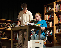 "Brittney Pond as ""Maggie"" and Reese Miles as ""David"" make a discovery during LHS Theater Arts' dress rehearsal for ""Letters From My Father"" Wednesday evening at Laconia High School.  (Karen Bobotas/for the Laconia Daily Sun)"