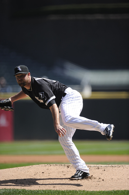 CHICAGO - APRIL 13:  John Danks #50 of the Chicago White Sox pitches against the Oakland Athletics on April 13, 2011 at U.S. Cellular Field in Chicago, Illinois.  The Athletics defeated the White Sox 7-4 in ten innings.  (Photo by Ron Vesely)  Subject: John Danks