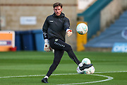 Forest Green Rovers goalkeeper James Montgomery warming up during the 2nd round of the Carabao EFL Cup match between Wycombe Wanderers and Forest Green Rovers at Adams Park, High Wycombe, England on 28 August 2018.