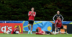DINARD, FRANCE - Sunday, June 19, 2016: Wales' Andy King, David Edwards, Sam Vokes and James Chester during a training session at their base in Dinard as they prepare for the final Group B match against Russia during the UEFA Euro 2016 Championship. (Pic by David Rawcliffe/Propaganda)