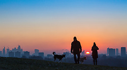 London, December 12 2017. Dog walkers admire the sunrise on a clear very cold morning in London, seen from Primrose Hill in Camden. © Paul Davey