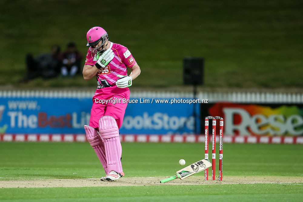SKYCITY Northern Knight's Kevin O'Brien is hit by a short ball from Wellington Firebird's Anurag Verma during the Georgie Pie Super Smash T20 cricket match - SKYCITY Northern Knights v Wellington Firebirds on Thursday 12 November 2015 at Seddon Park, Hamilton. Copyright Photo:  Bruce Lim / www.photosport.nz