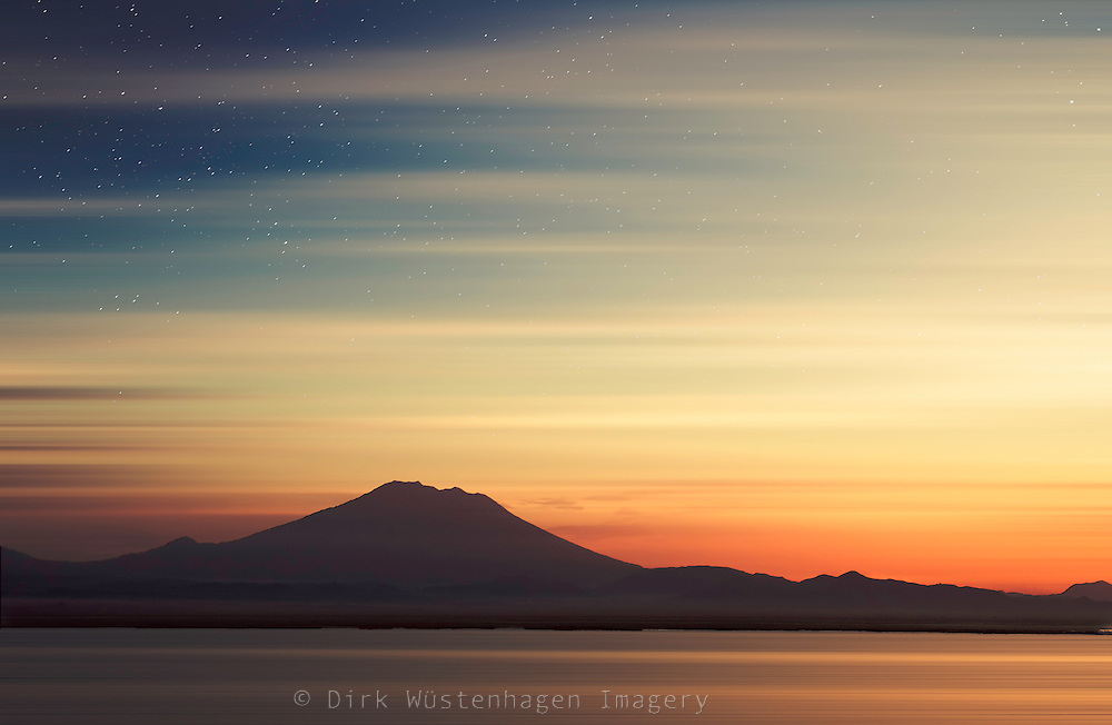 Silhouette of volcano Gunung Agung, Bali - manipulated photograph<br />