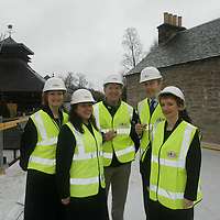Free to use photograph of the topping out ceremony at the Famous Grouse Experience at the Glenturret Distillery in Crieff... Pictured Scots rugby player Andy Nicol with Derek Brown, Director Brands Heritage<br />