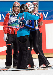 EVENSEN Johan Remen, JACOBSEN Anders with ROMOEREN Bjoern Einar and BARDAL Anders of second placed team of Norway celebrating during Flying Hill Team Second Round at 4th day of FIS Ski Flying World Championships Planica 2010, on March 21, 2010, Planica, Slovenia.  (Photo by Vid Ponikvar / Sportida)