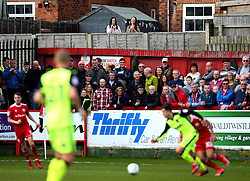 A couple of fans watch Accrington Stanley v Exeter City from their garden - Mandatory by-line: Robbie Stephenson/JMP - 14/04/2018 - FOOTBALL - Wham Stadium - Accrington, England - Accrington Stanley v Exeter City - Sky Bet League Two