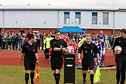 The teams come out for the North West Counties League Play Off Final match between Litherland REMYCA and City of Liverpool FC at Litherland Sports Park, Litherland, United Kingdom on 13 May 2017. Photo by Craig Galloway.