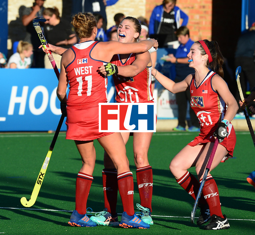 JOHANNESBURG, SOUTH AFRICA - JULY 23: Taylor West and Katelyn Ginolfi of United States of America celebrates the goal during day 9 of the FIH Hockey World League Women's Semi Finals, final  match between United States and Germany at Wits University on July 23, 2017 in Johannesburg, South Africa. (Photo by Getty Images/Getty Images)