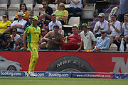Nathan Coulter-Nile hassled by an inflatable cricket ball and player with sandpaper during the ICC Cricket World Cup 2019 warm up match between England and Australia at the Ageas Bowl, Southampton, United Kingdom on 25 May 2019.