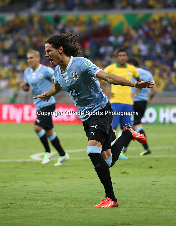 26th June 2013 - FIFA Confederations Cup 2013 (Semi-Final) - Brazil v Uruguay - Edinson Cavani of Uruguay celebrates after scoring their 1st goal - Photo: Simon Stacpoole / Offside.