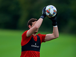 CARDIFF, WALES - Tuesday, September 4, 2018: Wales' goalkeeper Daniel Ward during a training session at the Vale Resort ahead of the UEFA Nations League Group Stage League B Group 4 match between Wales and Republic of Ireland. (Pic by David Rawcliffe/Propaganda)