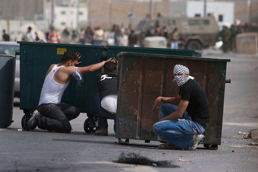 Palestinian demonstrators at Qualindia checkpoint near Jerusalem on the 60th anniversary of Al Nakba. 15th May 2008