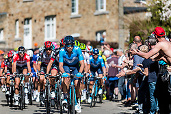 Front of the peloton during the 2nd of 3 climbs with 29 km to go at Mur de Huy of the 2018 La Flèche Wallonne race, Huy, Belgium, 18 April 2018, Photo by Pim Nijland / PelotonPhotos.com | All photos usage must carry mandatory copyright credit (Peloton Photos | Pim Nijland)
