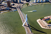 Nederland, Zuid-Holland, Rotterdam, 15-07-2012; Erasmusbrug, Noordereiland en Boompjes..The Erasmusbrug connecting two borders of north and south Rotterdam. .luchtfoto (toeslag), aerial photo (additional fee required).foto/photo Siebe Swart