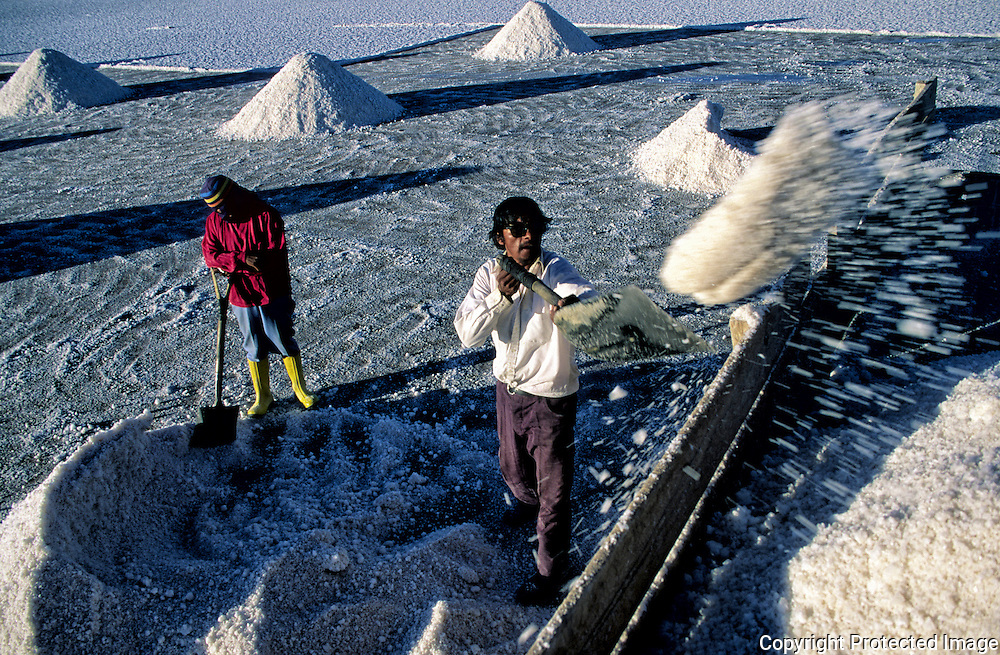 Celso and his wife load the truck of salt that then they were taking to Colchani .  Salar de Uyuni ( Uyuni salt flat ) . Department  of Potosí  ( Los Lipez).  South West  Bolivia. <br /> Adult Altiplano America Andes Arid  Aridity Barren  Bolivia Cleaver Color Colour Cone  Day Daytime  Department  Desert Desolate Desolation Dry  Exterior Extraction  Female Geography Hack Hard  Heat Highlands  Horizontal  Human  Latin America Lake  Los Lipez Lorry  Male Man Men Miner Mining Nature  Resource  Natural  One Outdoors Outside  Pan People  Person Pyramide Potosí  Production  Region Resource Rural Salar de Uyuni  Salt Flat  Salt Pan  Salt lake  Scenic Seasoning Shovel Single Shape South America  Southwest  Sud Sunglasses  Surface Travel  Truck  West White Woman Women Work  Worker Working