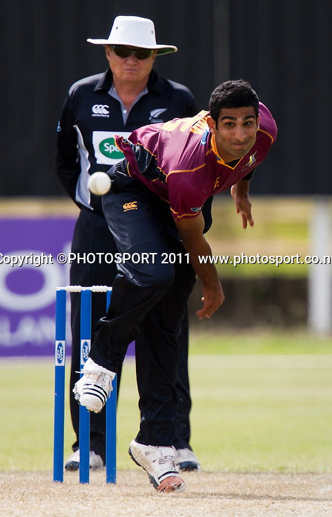 Knights' Anurag Verma bowls during the Ford Trophy Cricket - Northern Knights v Central Stags one day match, at Seddon Park, Hamilton, New Zealand, 11 December 2011. Photo: Stephen Barker/photosport.co.nz