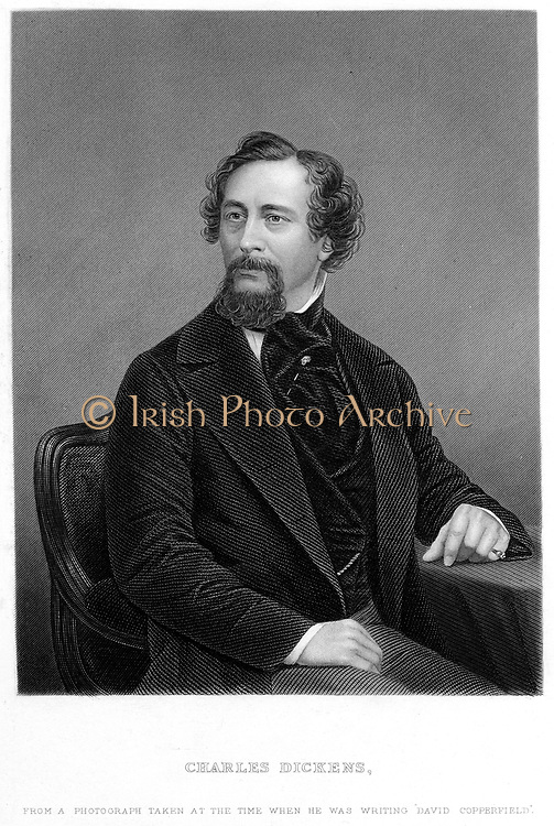 Charles Dickens (1812-70) English novelist and journalist in 1849-50 at the time his 'David Copperfield' was published. Engraving